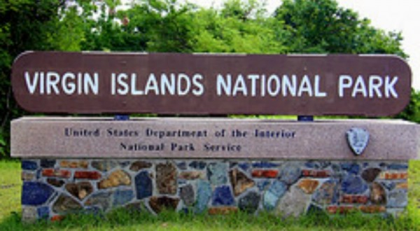 Virgin Islands National Park sign St John USVI