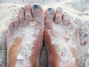 feet in the sand on St John island